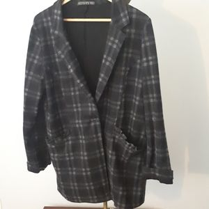 **Potter's Pot One Button PlaidCar Coat